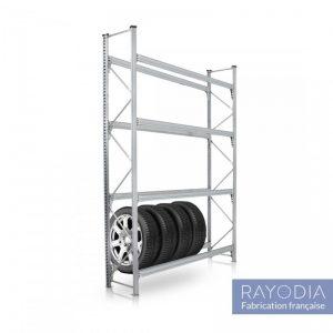 Un rayonnage métallique robuste pour les pneus